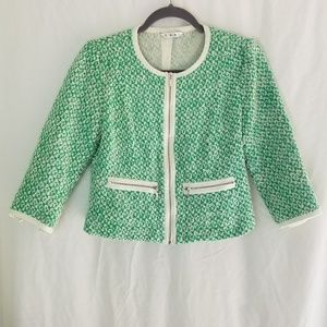 CAbi Clover Tweed Style #726 Green White Jacket 2